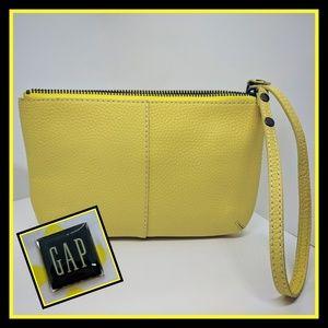GAP Lemon Yellow Leather Wristlet New Condition